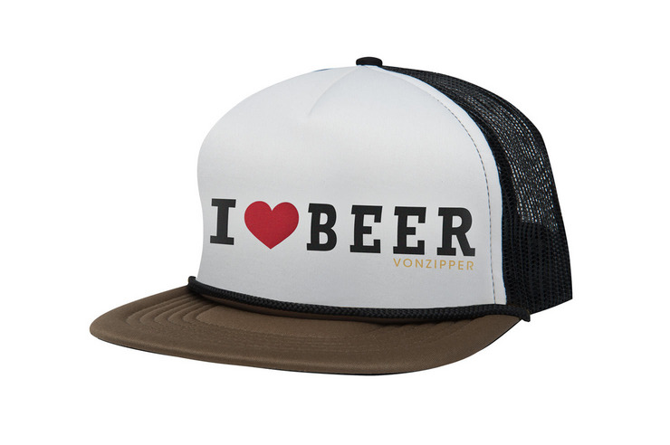 VonZipper I Heart Beer adjustable snapback foam trucker hat in brown ale.